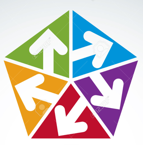 Vector abstract emblem with five multidirectional arrows placed in isosceles triangles – up, down, left, right. Conceptual corporate symbol, colorful pentagon icon.